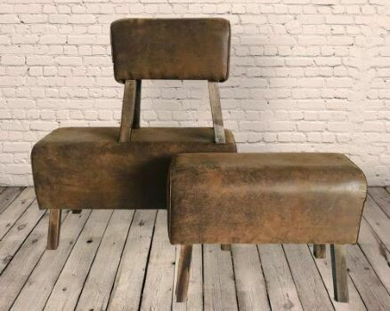 Set Of 3 Distressed Faux Leather Gym Pommel Horses