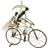 Fair Trade Wire Cyclists with Umbrella
