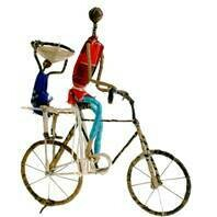 Fair Trade Wire Cyclists with Child & Basket