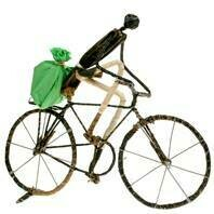 Fair Trade Wire Cyclist with Bag