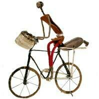 Fair Trade Wire Cyclist with Bag and Basket