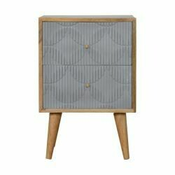 Geometric Carved Grey Painted Bedside Cabinet