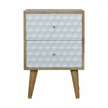 Honeycomb Carved Bedside with 2 Drawers