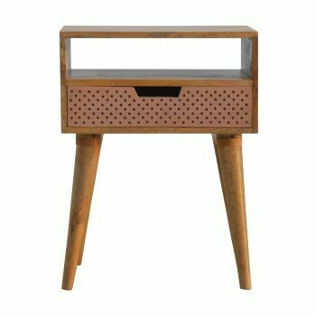 Perforated Copper Bedside with Open Slot