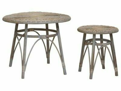 Set of Two French Wicker Tables