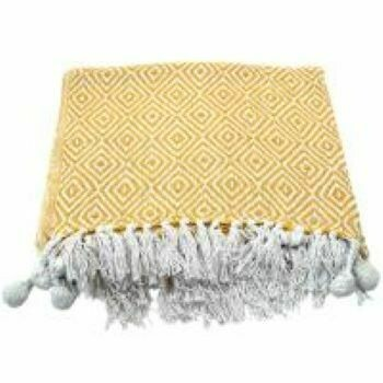 Fair Trade Recycled Yellow Diamond Bedspread / Throw