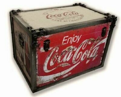 Coca Cola Metal Strapped Trunk