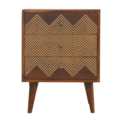The Portland Brass Inlay Chevron Bedside Cabinet