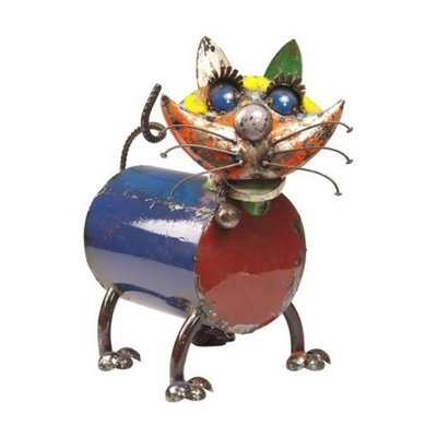 Whiskers Cat Recycled Sculpture