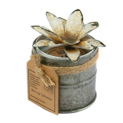 Fair Trade Recycled Shabby Chic Candle - Woody Tabacco