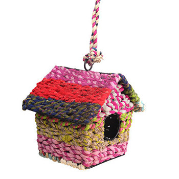 Recycled Fabric Bird House Square