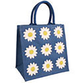 Jute Shopping Bag Blue with large Daisies