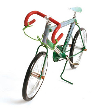 Racing bicycle recycled cans 14cm