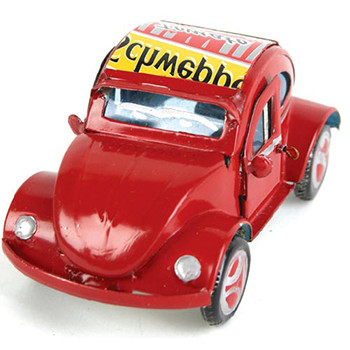 VW Beetle recycled cans red 10cm