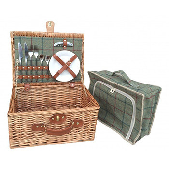 Two Person Green Tweed Picnic Hamper