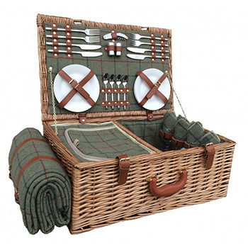 Four Person Green Tweed Picnic Hamper