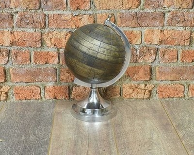 Antique Effect Wooden Finish Globe set on an Aluminium Stand