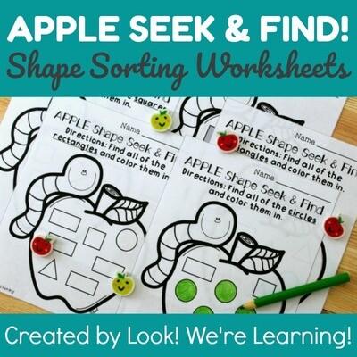 Apple Shapes Seek & Find Worksheets