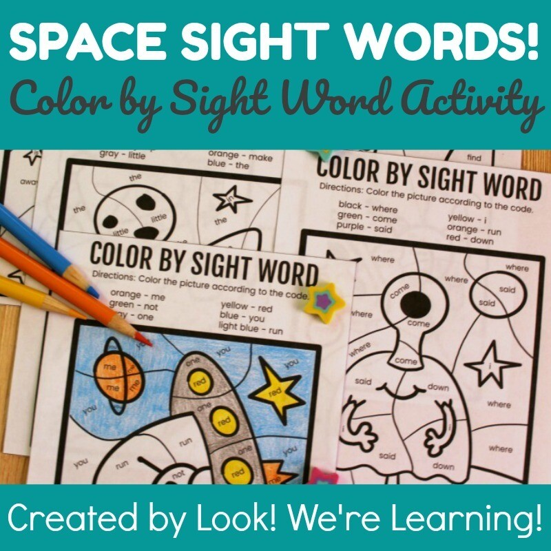 Space Color by Sight Word Activity
