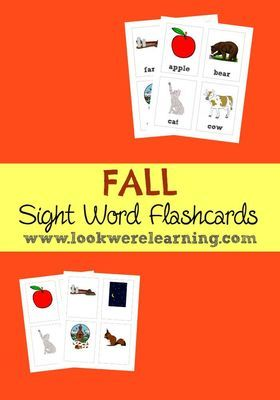Fall Sight Words Flashcards