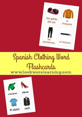 Printable Spanish Clothing Word Flashcards