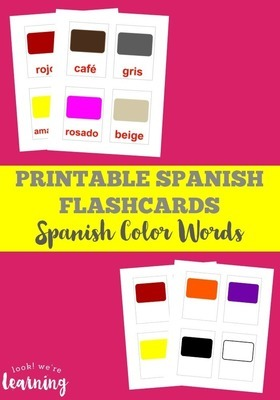 Printable Spanish Flashcards: Spanish Color Words