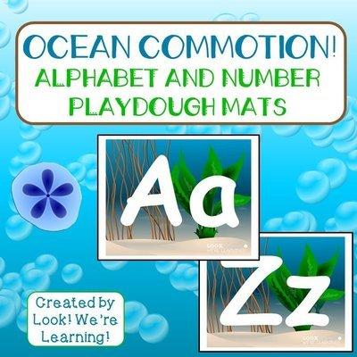 Ocean Alphabet and Number Playdough Mats