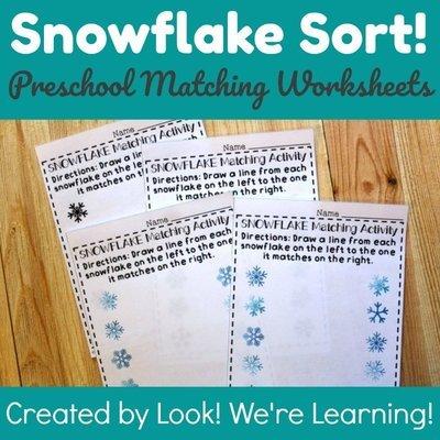 Snowflake Sort! Preschool Matching Worksheets