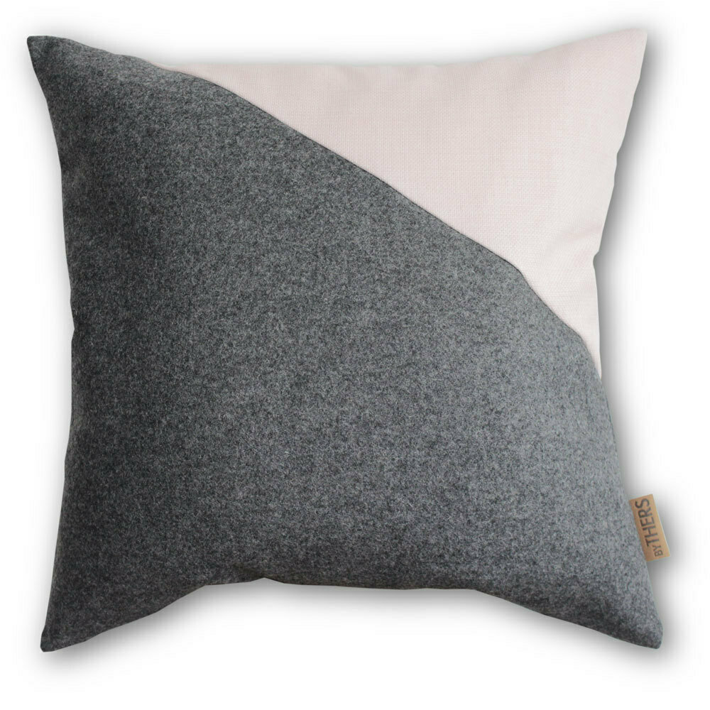 Contrast uld pude - Grå