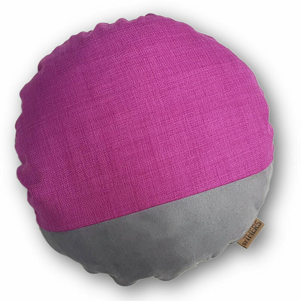 Rund unikapude - Grå/pink