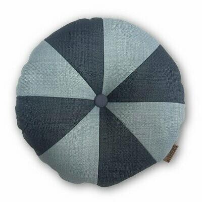 Rund pude med knap, grå/lys grå - LAGERSALG