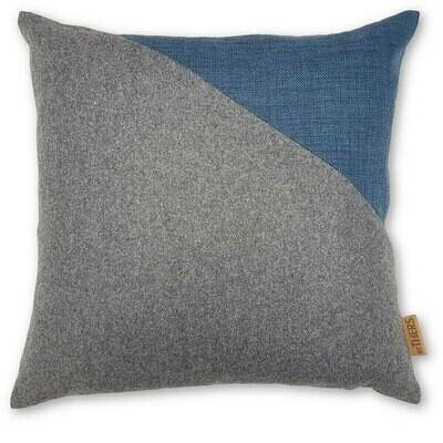 Contrast uld pude, grå/blå - LAGERSALG