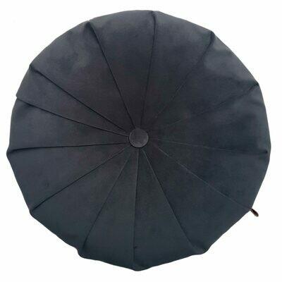 Rund velour pude - Mørk grå