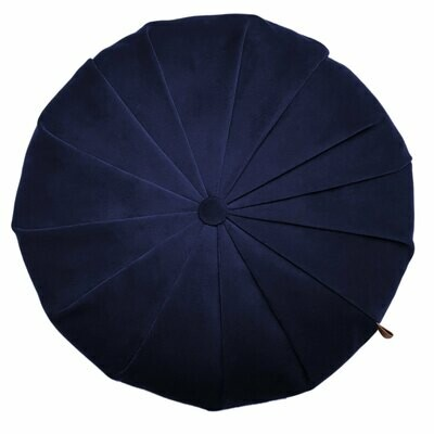 Rund velour pude - Mørk blå