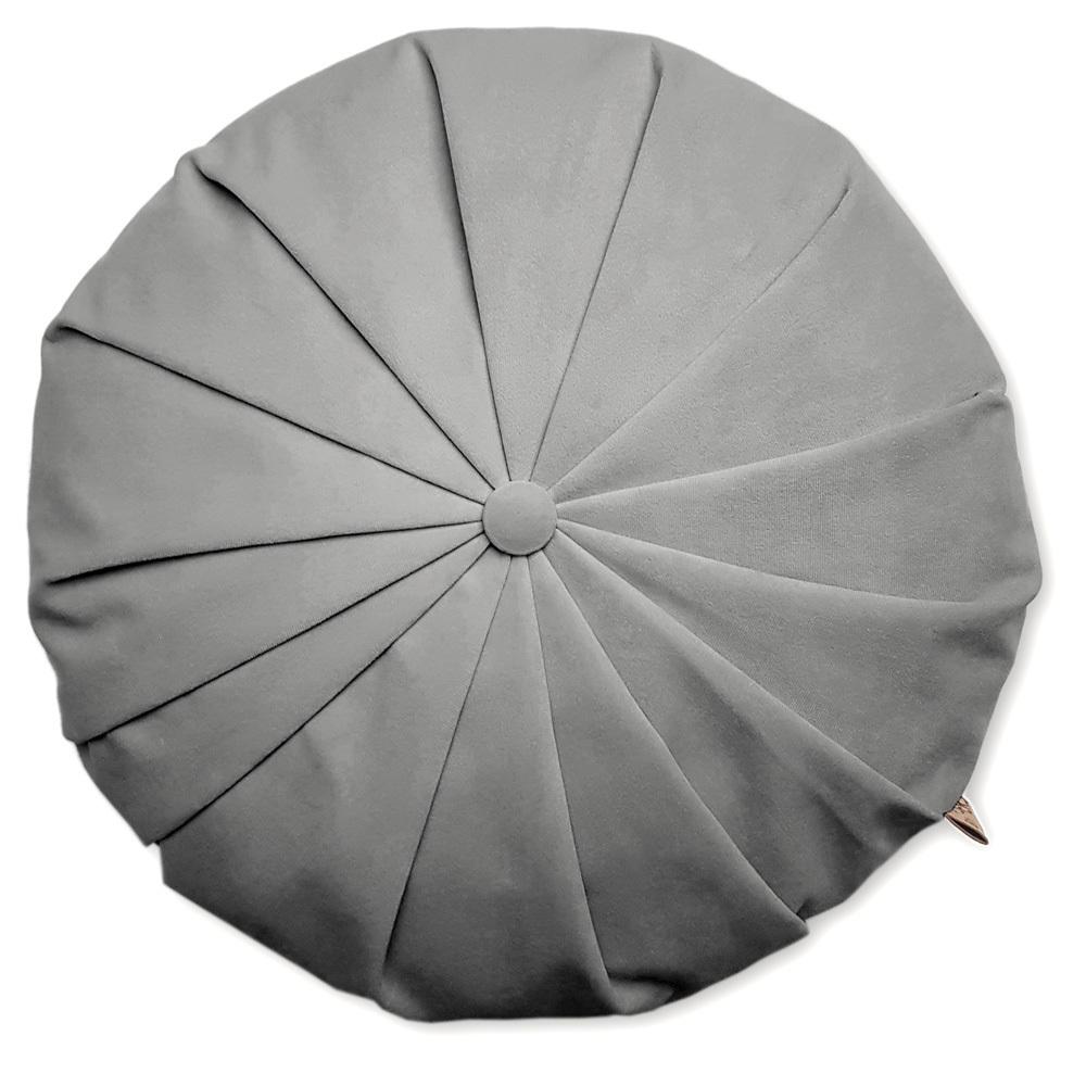 Rund velour pude - Lys grå 4209
