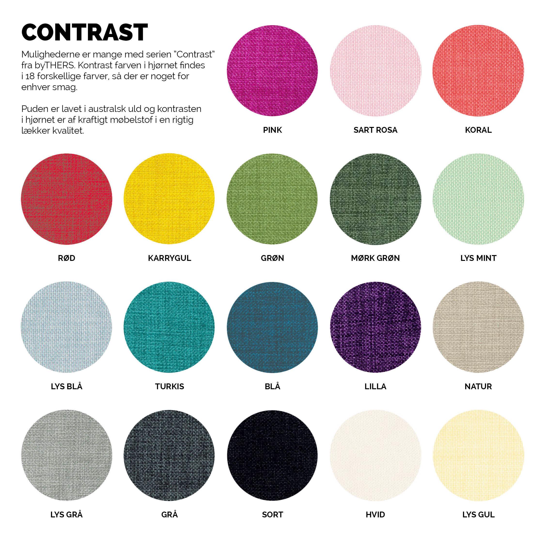 Vælg mellem 18 forskellige farver.