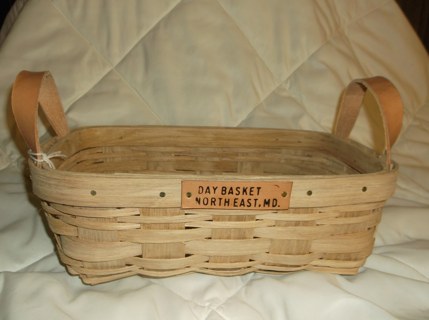Apple Basket - 13x8.5x5, Leather Handle