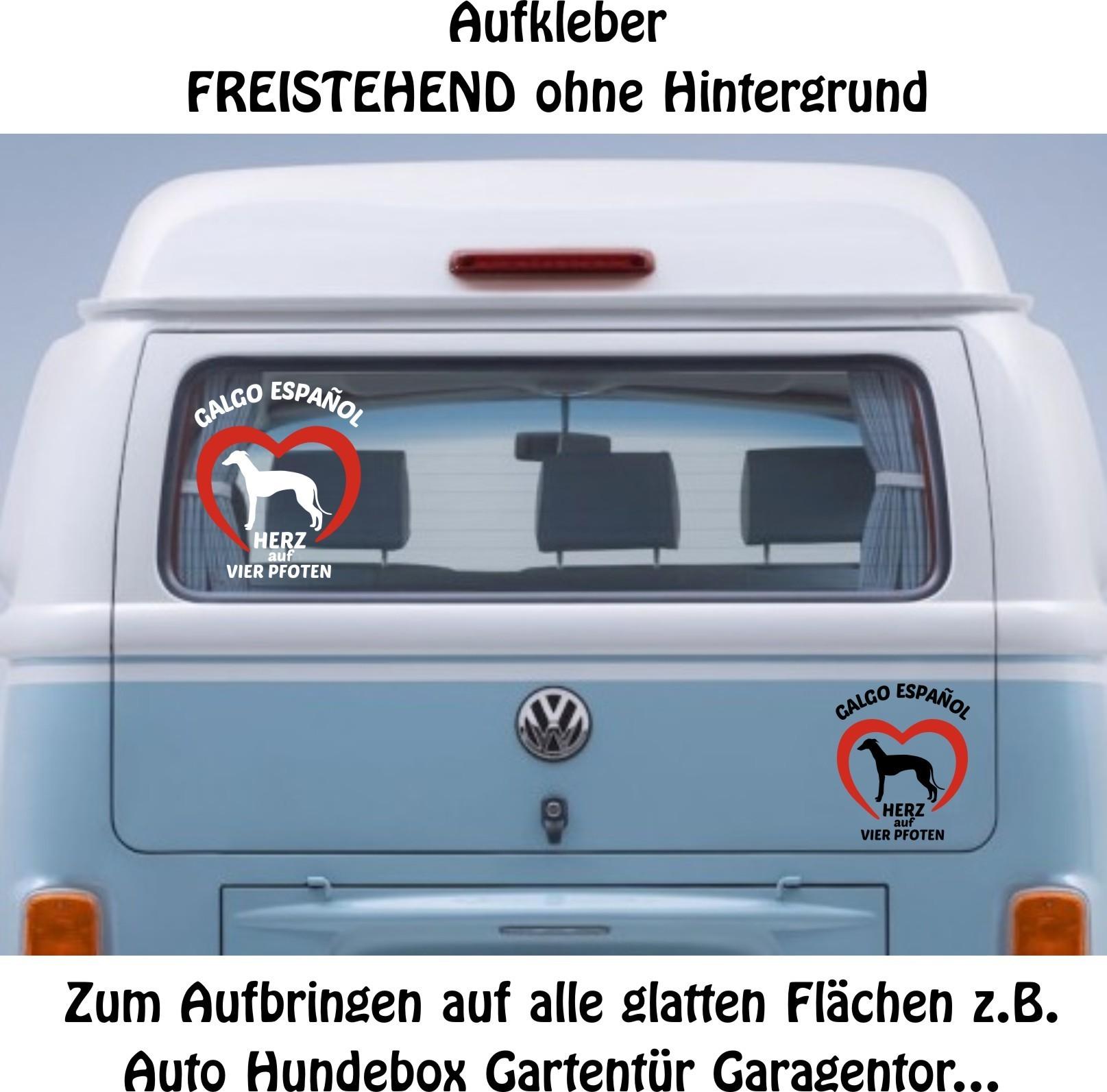 Galgo Espanol Windhund Hunde Auto Aufkleber Sticker Folie Herz Auf Vier Pfoten