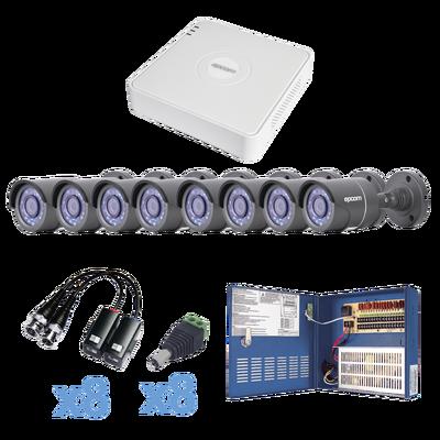 TURBO HD720p .::. DVR 8 Ch .::. 8 Cámaras Balas (exterior 3.6 mm) .::. Conectores / Transceptores / Fuente de Poder Profesional hasta 15 VCD Distancia.