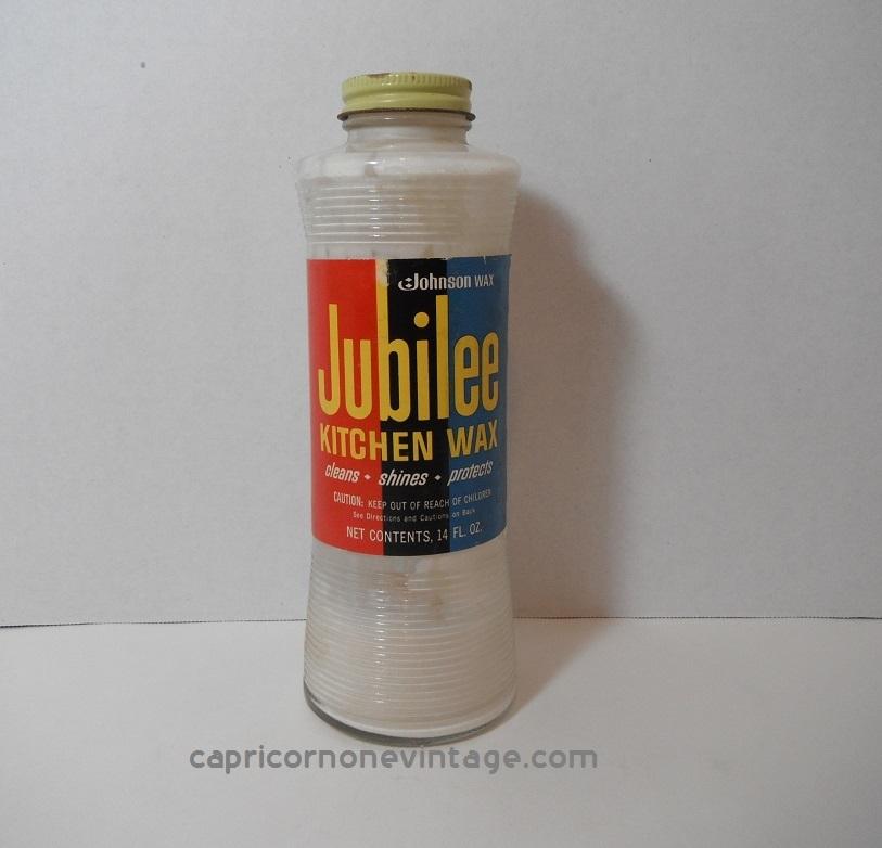 Vintage 1960s Jubilee Kitchen Wax Glass Bottle Johnson Wax 14 Oz 1/4 Full  Mid Century ...