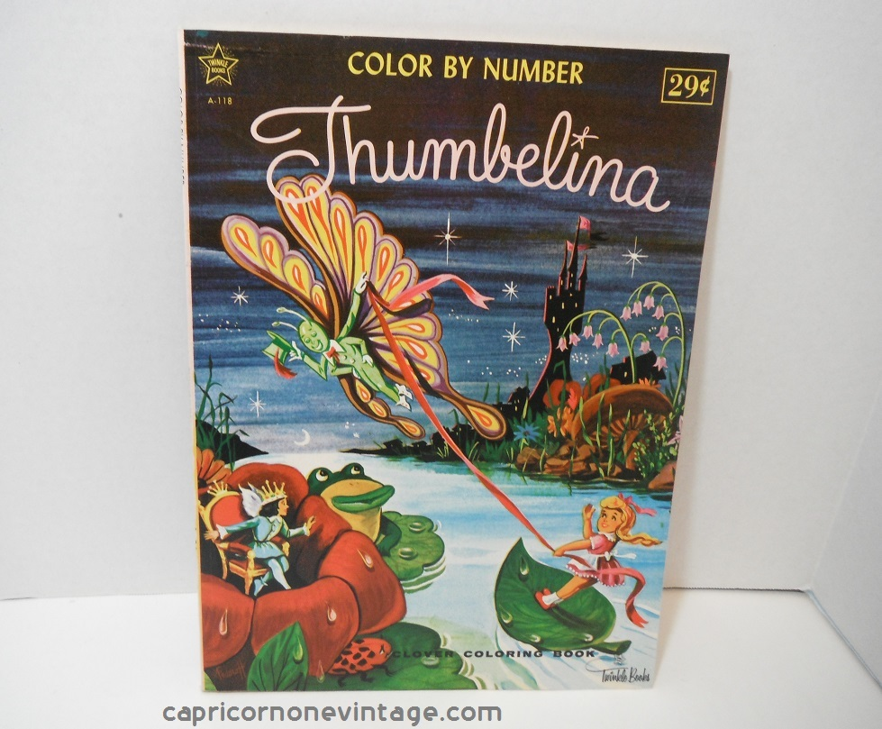 vintage 1960s or 1970s color by number thumbelina coloring book this unused coloring book originally retailed for 29 cents was put out by twinkle books - Color By Number Books