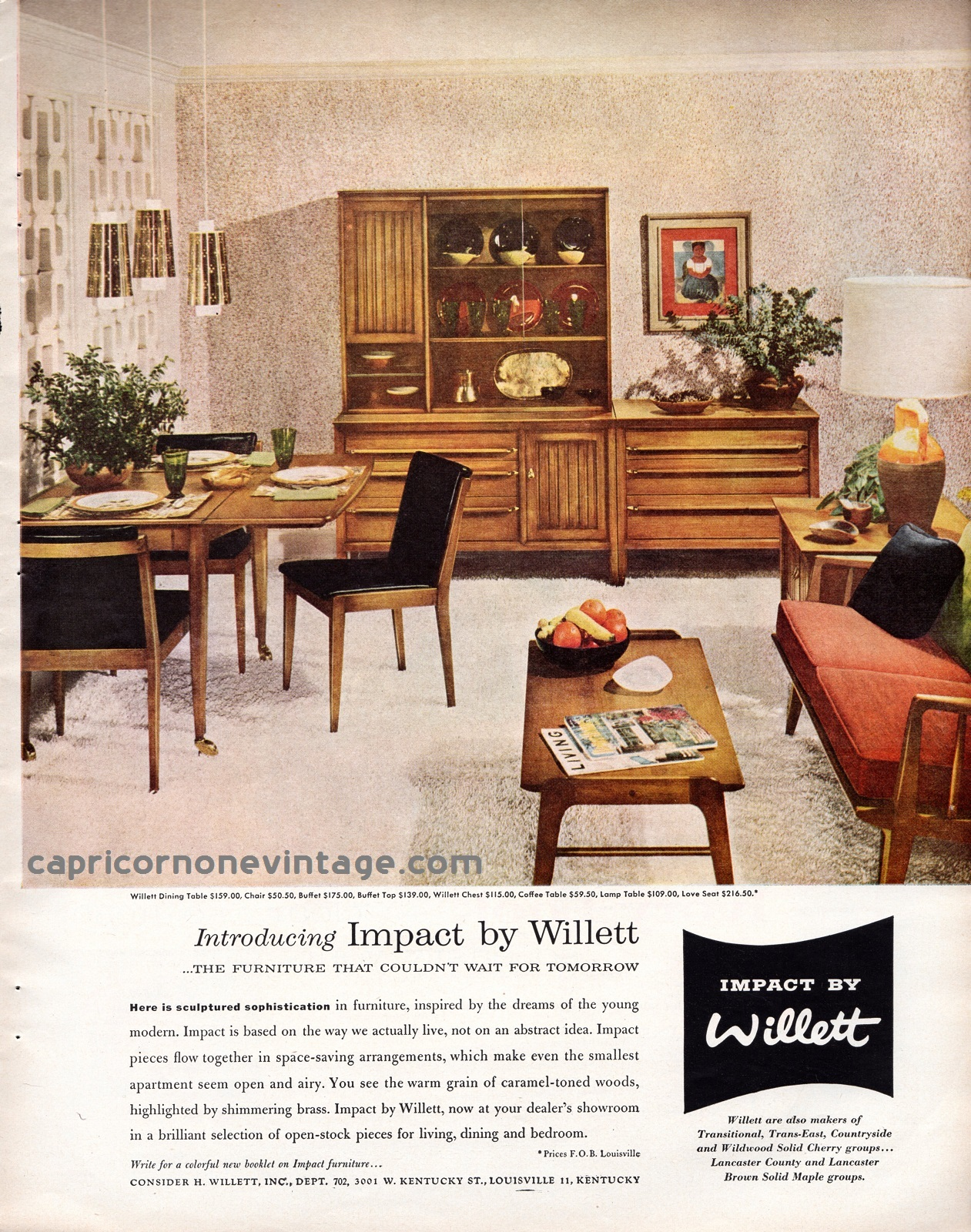1957 Impact by Willett furniture magazine ad. Introducing Impact by  Willett....THE FURNITURE THAT COULDN'T WAIT FOR TOMRORROW
