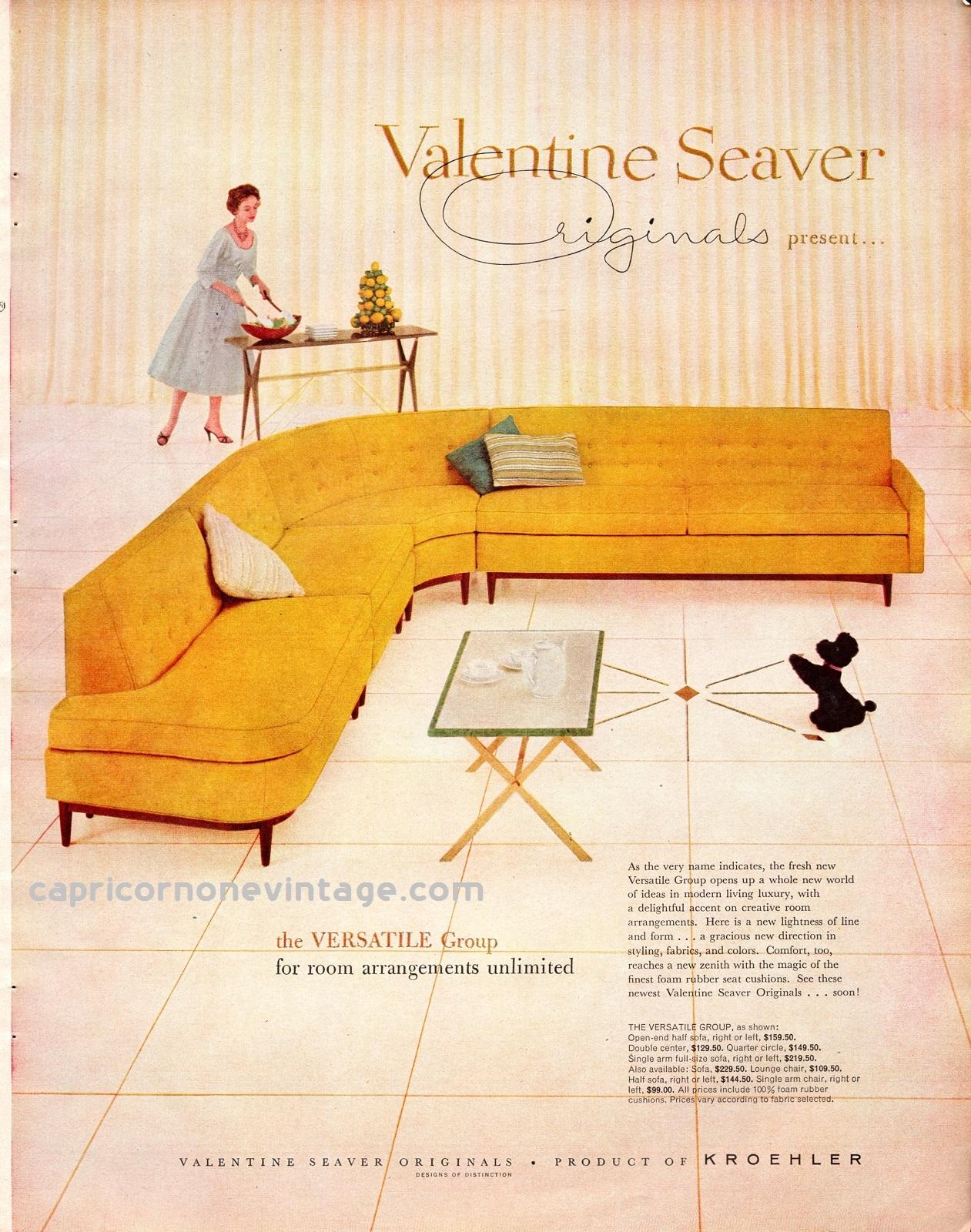 1957 Valentine Seaver Originals Magazine Ad Kroehler Mid