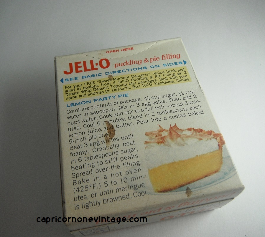 1960s Jello Lemon Pudding & Pie Filling Unused Box Vintage ...