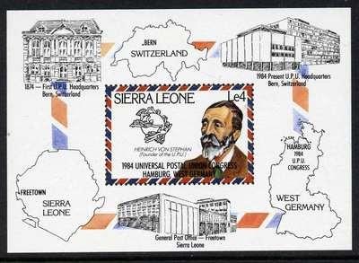 Sierra Leone 624 MNH UPU, Von Stephan, Architecture, Map