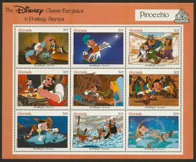 Grenada 1543 Imperf selvedge MNH Disney, Pinocchio