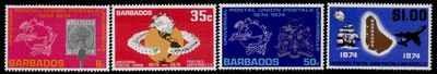 Barbados 412-5 MNH UPU, Stamp on Stamp, Map, Crest
