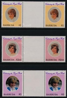 Barbuda 532-4 Gutter Pairs MNH Princess Diana, Birth of Prince William