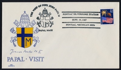 USA 2276 on cover - Pope John Paul II visit to America Cachet, Pontiac MI Cancel