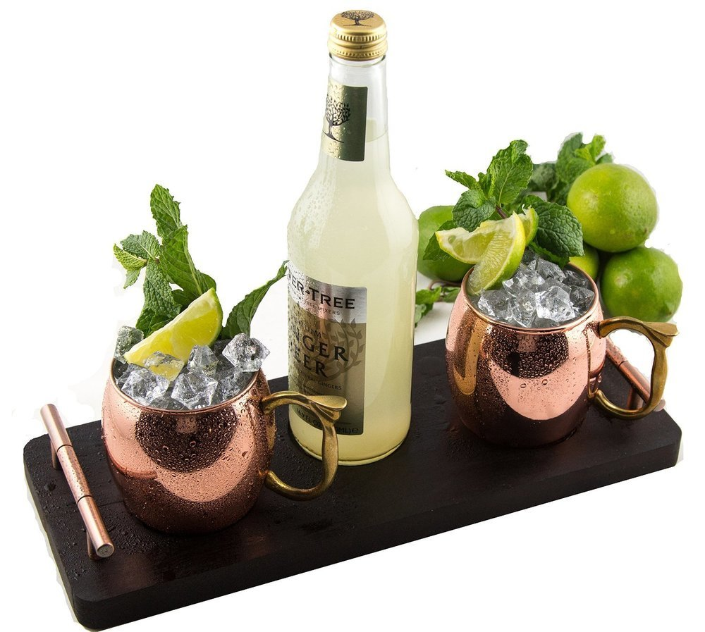 The Mule Runner - Copper Mug Set with Serving Tray